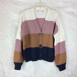 Pink Rose | Colorblock striped sweater